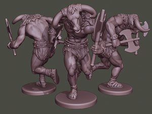 3D minotaur warrior running axes model