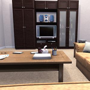 living room american suburban 3D