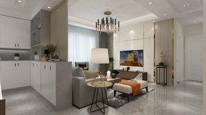 3D interior residential dining living model