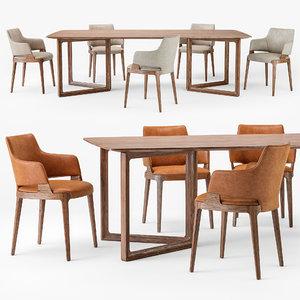 3D model velis armchair opus table wood