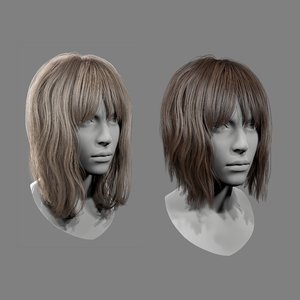 3D realtime medium length hairstyle model