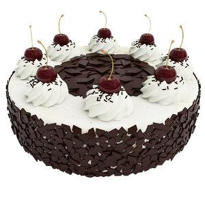 3D model cake chocolate cherry