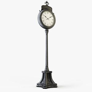 vintage street clock 3D model