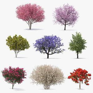flowering bushes trees 5 3D