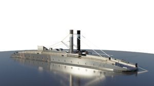3D 19th chain boat steam engine