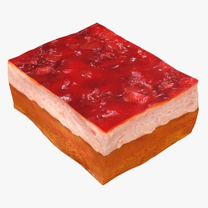realistic strawberry jelly cake 3D model