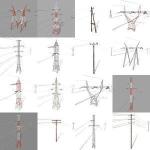 3D pack electricity poles