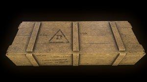 3D military wood box model