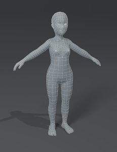 3D girl kid child body