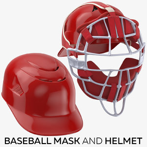 3D model baseball mask helmet