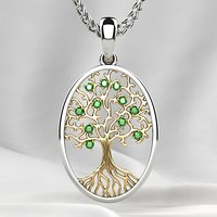 Rhodium Plated Gold Tree Pendant with Emeralds 3D print model