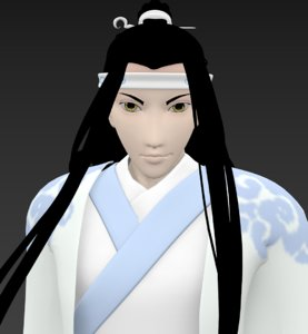 3D samurai white
