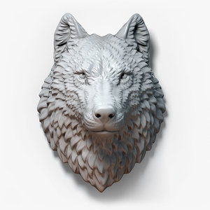 wolf animal head sculpture 3D model