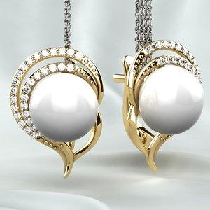 button pearl earrings 3D model