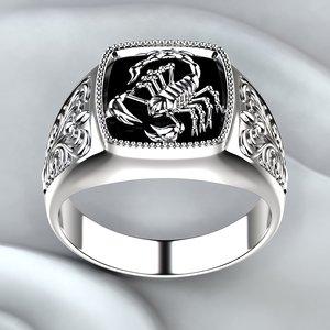 printing ring onyx silver 3D model