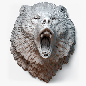 angry bear animal head model