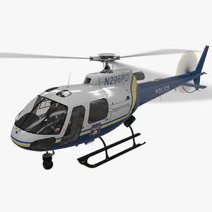 3D model helicopter as-350 philadelphia police