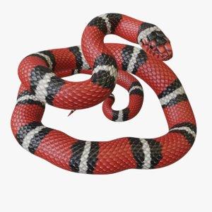 rigged scarlet kingsnake reptile 3D model