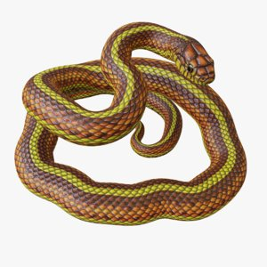3D rigged yellow snake reptile model