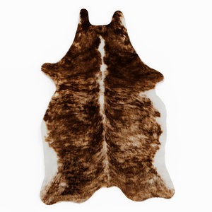 wool cowhide rug brown 3D