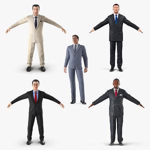 3D businessmans set african