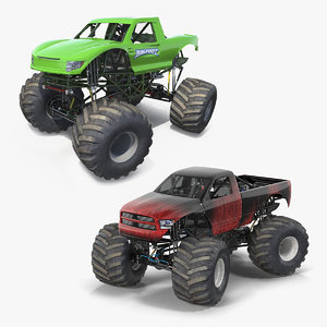 monster trucks rigged 3D model