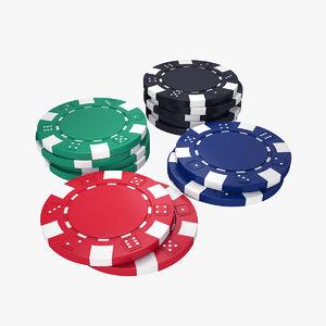 poker chip set 3D