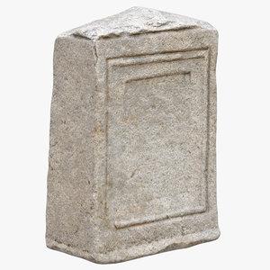3D medieval stone block piece model