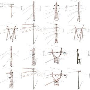 pack electricity poles 3D