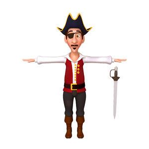 pirate cartoon 3D model