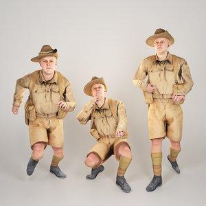 3D model australian infantryman character rigged