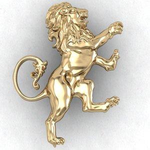 lion heraldic 3D model