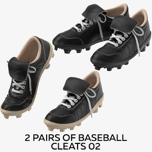 2 pairs baseball cleats 3D model