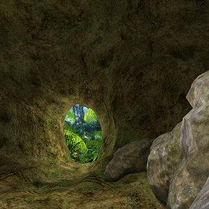 3D scene rock cave