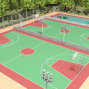 3D school sport field model