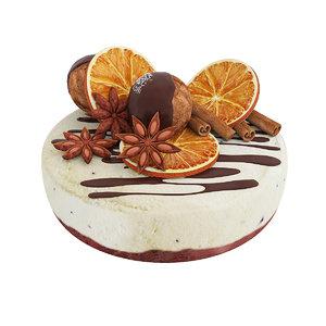 3D model cake orange anise
