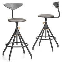 District Eight-Akron Counter Stool With Backrest