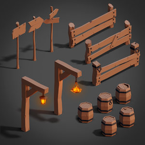 3D medieval pack set fences model