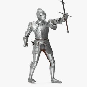 polished plate armor zweihander model