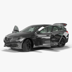 luxury sedan generic rigged 3D model