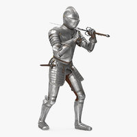 Medieval Knight Plate Armor with Zweihander Rigged