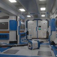 Sci Fi corridor Game ready