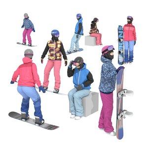 3D model snowboard girls