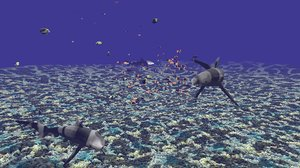 underwater fishes coral reefs 3D model