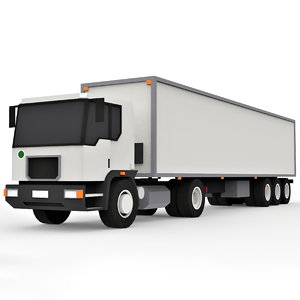 3D model cartoon trailer truck
