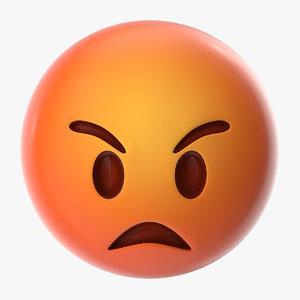 3D angry emoji