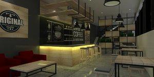 interior cafe industrial 3D model