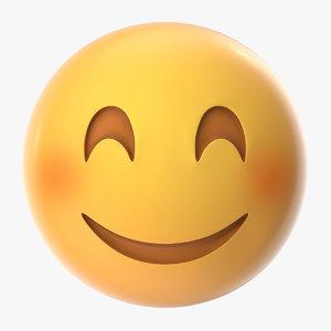 3D blushed smiling emoji model