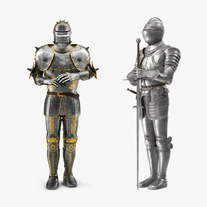 medieval knight plates armor suit 3D model