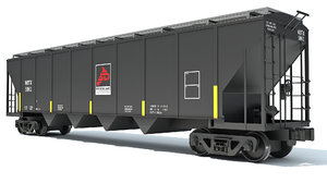 3D covered hopper car railroad